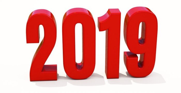 Red 2019 On White Background, New Year 2019, 3d Illustration, Ha